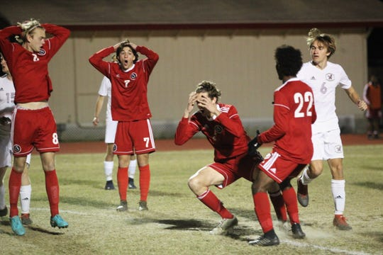 Leon's Collins Proctor (5) reacts to missing a shot at the 6-yard line as the Lions' boys soccer team beat Niceville 1-0 in a Region 1-4A semifinal on Feb. 9, 2019.