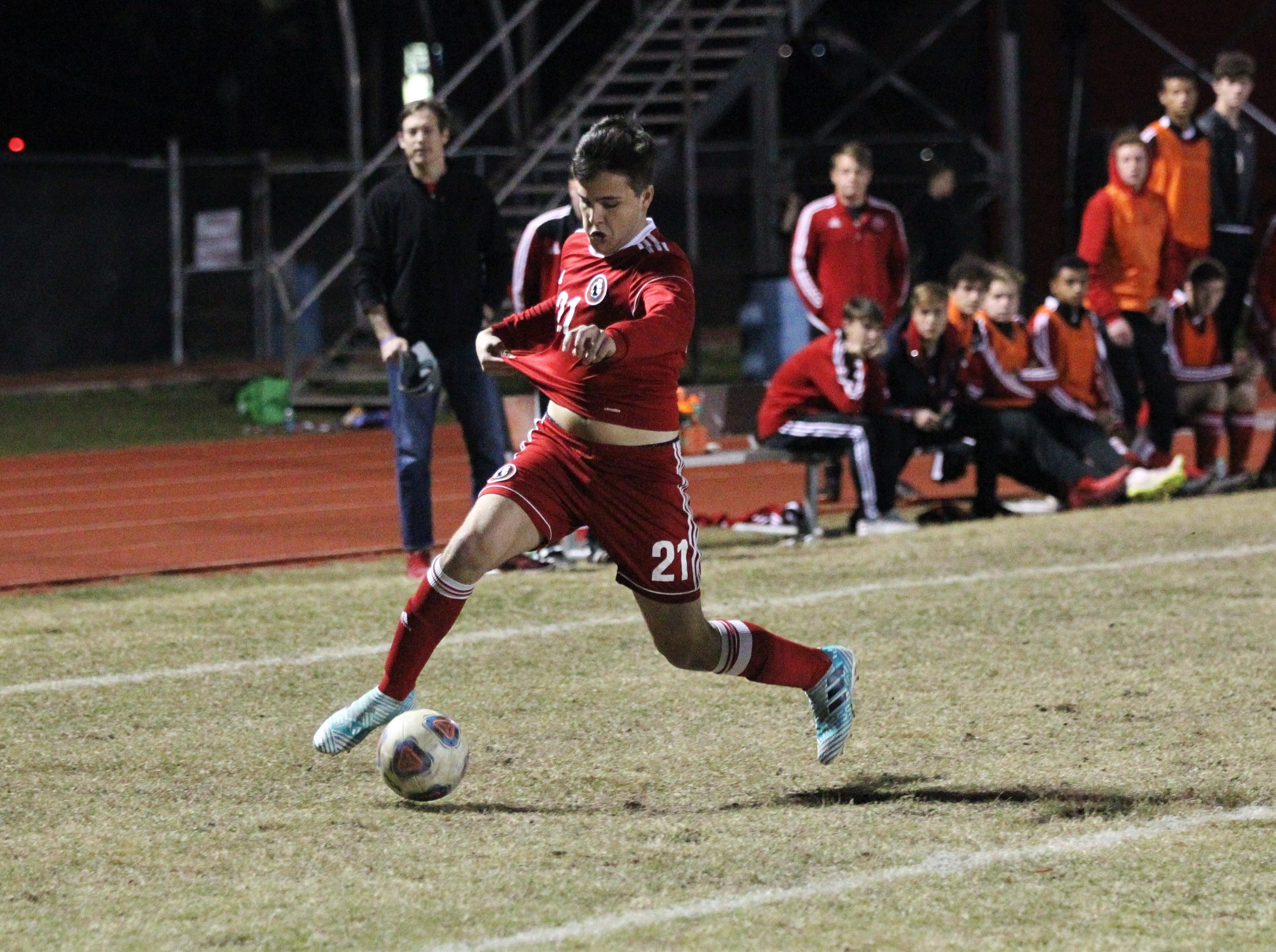Leon's Nick Jusko tracks down a pass as the Lions' boys soccer team beat Niceville 1-0 in a Region 1-4A semifinal on Feb. 9, 2019.