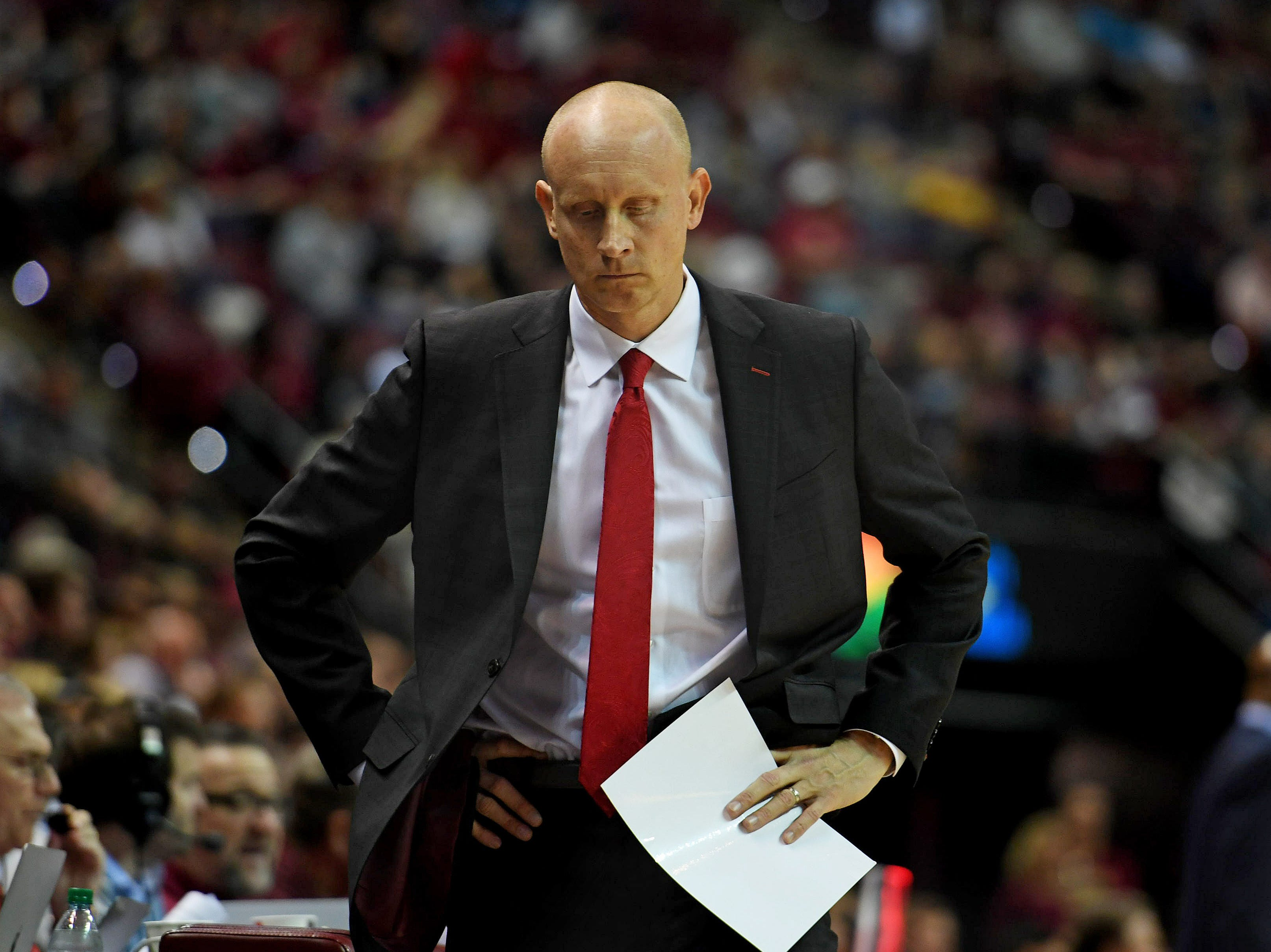 Feb 9, 2019; Tallahassee, FL, USA; Louisville Cardinals head coach Chris Mack reacts during the second half against the Florida State Seminoles at Donald L. Tucker Center. Mandatory Credit: Melina Myers-USA TODAY Sports