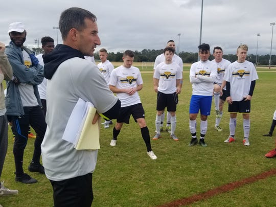 Josh Bruno, the boys soccer coach at Lincoln High, has been named the first coach for Tallahassee Soccer Club's semi-pro team. He directed tryouts last weekend to find the final roster.