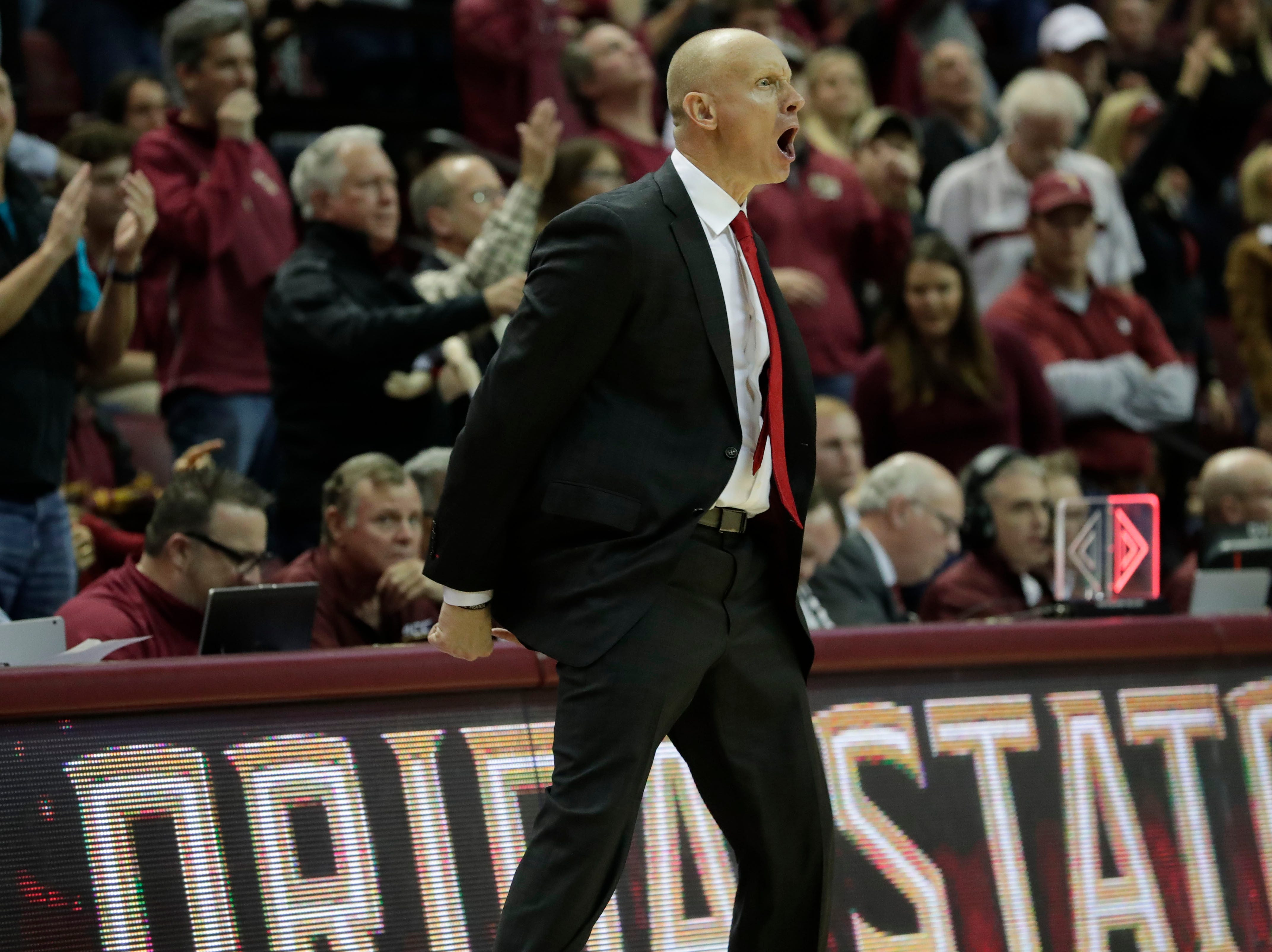 Louisville Cardinals head coach Chris Mack yells at his players as the game goes into over time. The Florida State Seminoles host the Louisville Cardinals at the Tucker Civic Center, Saturday Feb. 9, 2019.