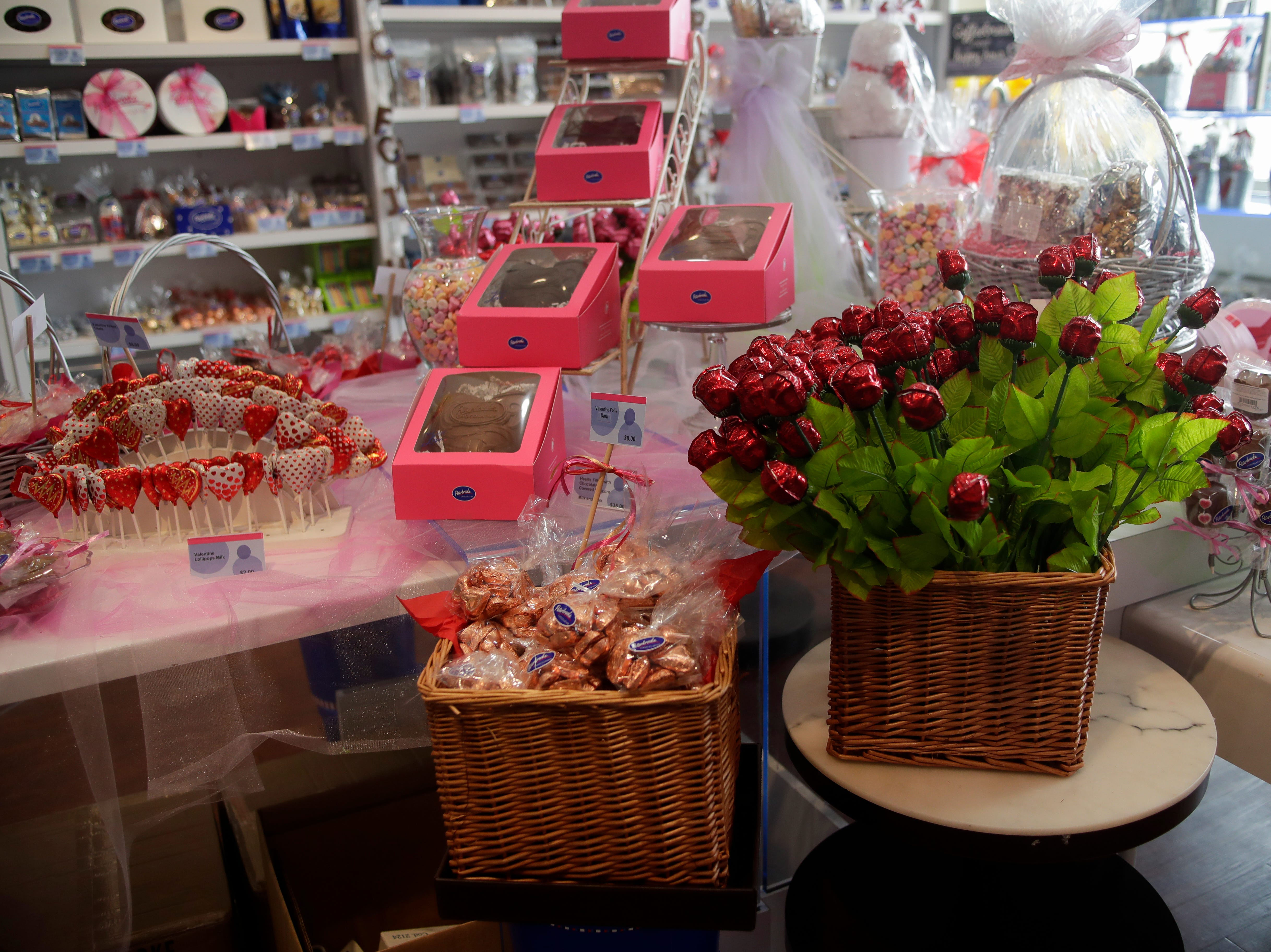There are many Valentine's Day items to choose from at Peterbrooke Chocolatier including heart-shaped roses, chocolate covered marshmallows, a chocolate heart filled with chocolate covered popcorn and more.