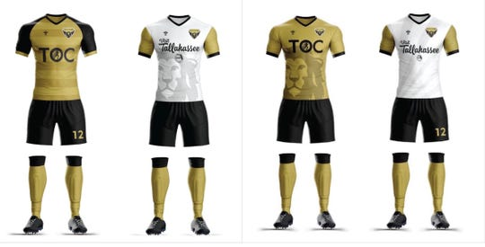 Tallahassee SC is deciding which home and away kit combination it will wear for its inaugural season. By becoming a founding member, fans can vote on decisions the club makes, such an uniforms.
