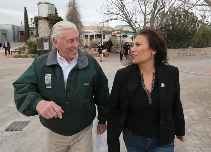 U.S. Rep. Veronica Escobar toured the border in Sunland Park along with House Majority Leader Steny Hoyer, Rep. Deb Haaland of New Mexico, Rep. Mary Gay Scanlon, Pennsylvania and Rep. Xochitl Torres Small, New Mexico. The delegation met with Border Patrol at the bollard fence in Sunland Park, NM and had meetings with community leaders.