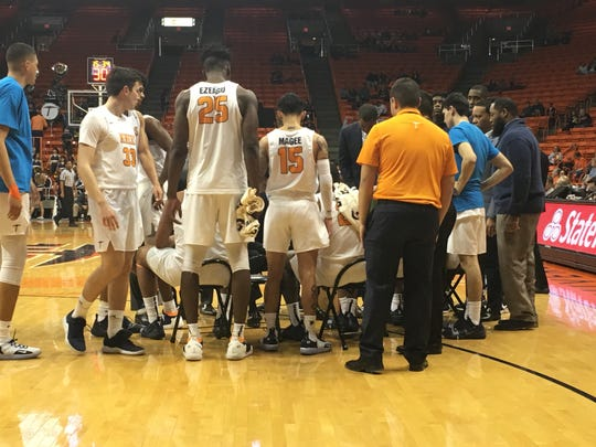 UTEP huddles in the first half of Saturday's game against Florida International at the Don Haskins Center