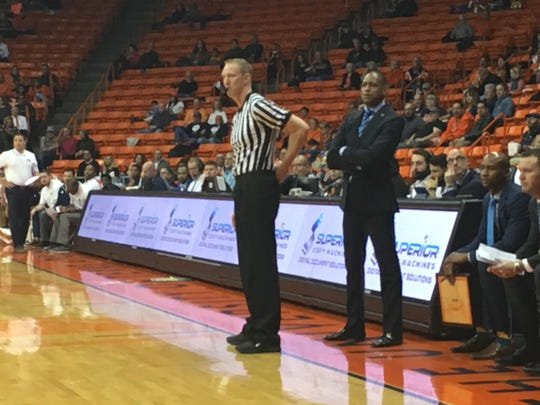 Rodney Terry watches his team Saturday night against Florida International at the Don Haskins Center