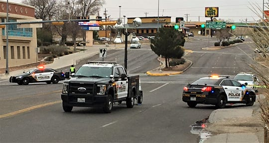 El Paso police block North Mesa Street on Sunday morning while investigating a brawl in the Cincinnati Avenue Entertainment District near UTEP.