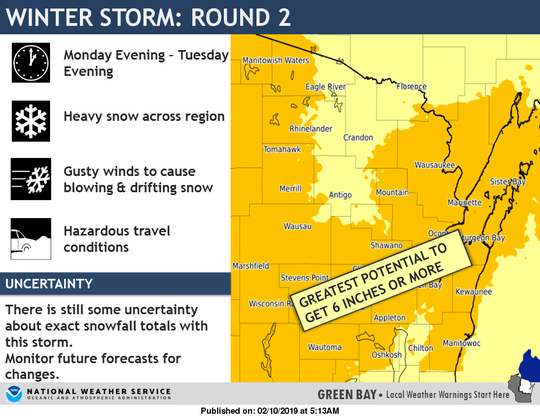 Up to six inches of snow could also be expected in some places on Monday night into Tuesday.