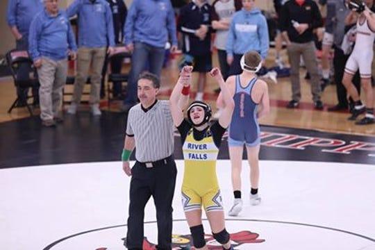 Josie Bartishofski won a regional title in WIAA Division 1 wrestling Saturday, Feb. 9, in Chippewa Falls.