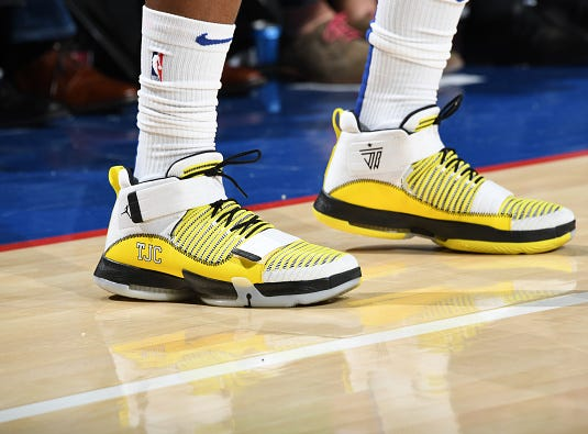 The sneakers worn by Jimmy Butler #23 of the Philadelphia 76ers against the Los Angeles Lakers on February 10, 2019 at the Wells Fargo Center in Philadelphia.