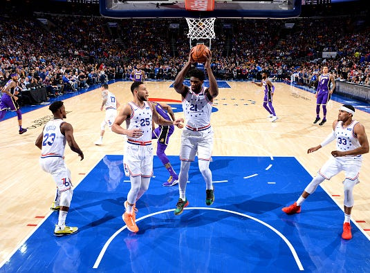 Joel Embiid #21 of the Philadelphia 76ers handles the ball against the Los Angeles Lakers on February 10, 2019 at the Wells Fargo Center in Philadelphia.