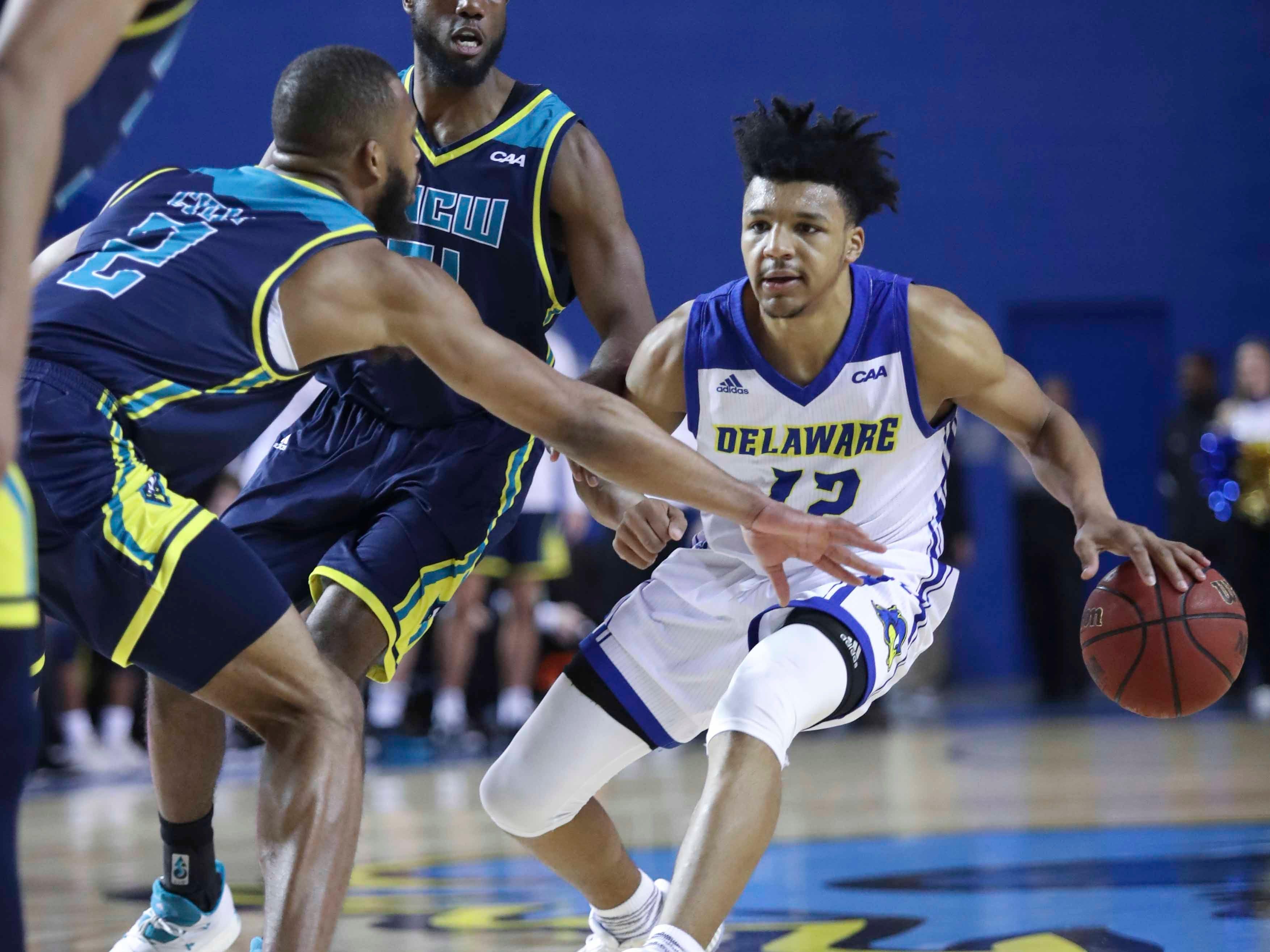 Delaware's Ithiel Horton maneuvers in the second half of Delaware's 70-66 win at the Bob Carpenter Center Saturday.