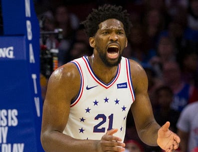 Joel Embiid #21 of the Philadelphia 76ers reacts against the Los Angeles Lakers in the second quarter at the Wells Fargo Center on February 10, 2019 in Philadelphia.