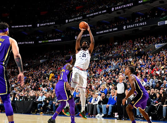 Joel Embiid #21 of the Philadelphia 76ers shoots the ball against the Los Angeles Lakers on February 10, 2019 at the Wells Fargo Center in Philadelphia.