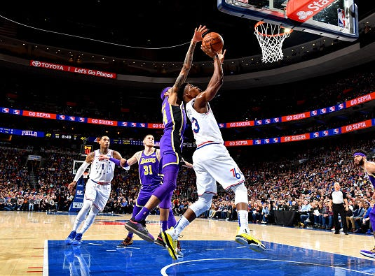 Jimmy Butler #23 of the Philadelphia 76ers shoots the ball against the Los Angeles Lakers on February 10, 2019 at the Wells Fargo Center in Philadelphia.