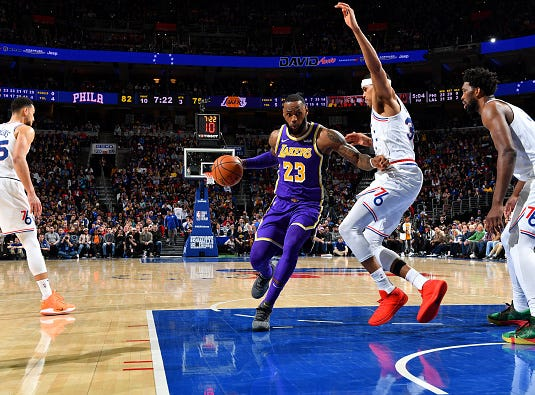 LeBron James #23 of the Los Angeles Lakers handles the ball against the Philadelphia 76ers on February 10, 2019 at the Wells Fargo Center in Philadelphia.