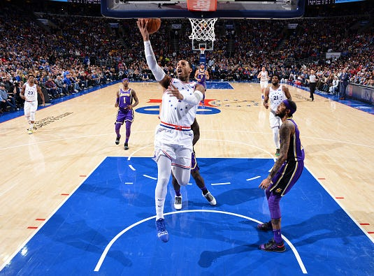 Mike Scott #1 of the Philadelphia 76ers shoots the ball against the Los Angeles Lakers on February 10, 2019 at the Wells Fargo Center in Philadelphia.