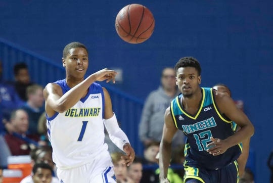Delaware's Kevin Anderson (1) missed his third straight game at Drexel Saturday.