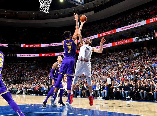 Boban Marjanovic #51 of the Philadelphia 76ers shoots the ball against the Los Angeles Lakers on February 10, 2019 at the Wells Fargo Center in Philadelphia, Pennsylvania.