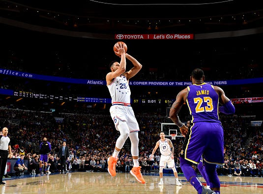 Ben Simmons #25 of the Philadelphia 76ers shoots the ball against the Los Angeles Lakers on February 10, 2019 at the Wells Fargo Center in Philadelphia.