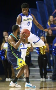 Ryan Allen (0) led Delaware with 18 points at Drexel.
