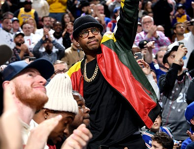 Allen Iverson is seen at the game between the Philadelphia 76ers and the Los Angeles Lakers on February 10, 2019 at the Wells Fargo Center in Philadelphia.