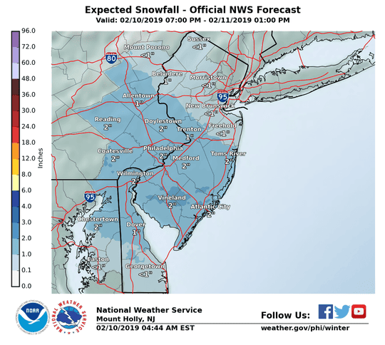 A winter weather advisory goes into effect at 10 p.m. Sunday.