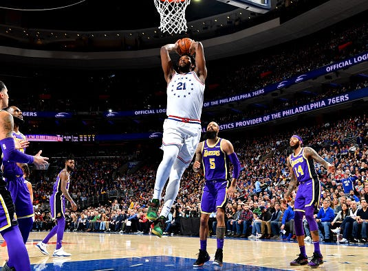 Joel Embiid #21 of the Philadelphia 76ers dunks the ball against the Los Angeles Lakers on February 10, 2019 at the Wells Fargo Center in Philadelphia.