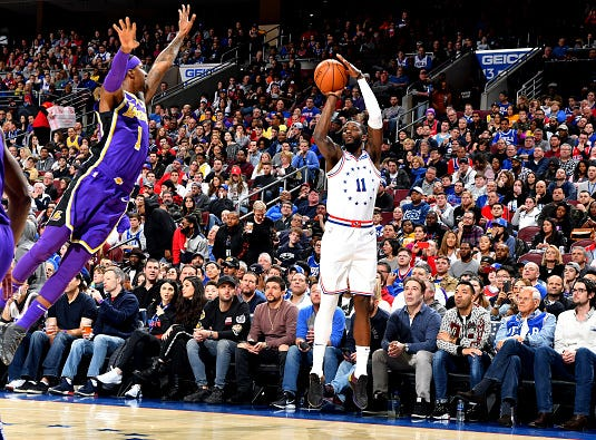 James Ennis III #11 of the Philadelphia 76ers shoots the ball against the Los Angeles Lakers on February 10, 2019 at the Wells Fargo Center in Philadelphia.
