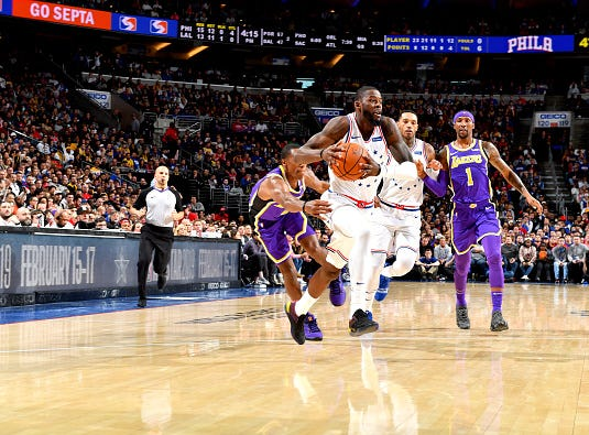 James Ennis III #11 of the Philadelphia 76ers handles the ball against the Los Angeles Lakers on February 10, 2019 at the Wells Fargo Center in Philadelphia.