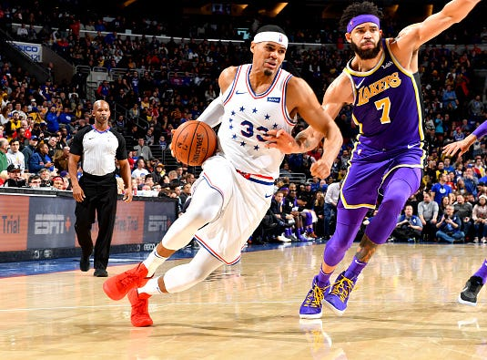 Tobias Harris #33 of the Philadelphia 76ers handles the ball against the Los Angeles Lakers on February 10, 2019 at the Wells Fargo Center in Philadelphia.