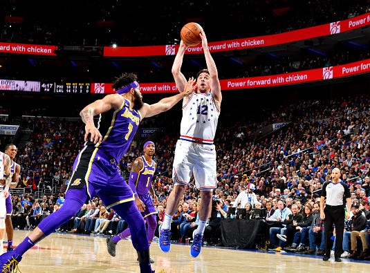 T.J. McConnell #12 of the Philadelphia 76ers shoots the ball against the Los Angeles Lakers on February 10, 2019 at the Wells Fargo Center in Philadelphia.