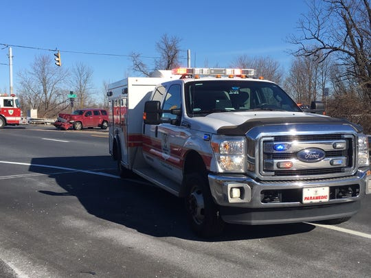 An emergency vehicle was in a crash Sunday morning, according to New Castle County Police.