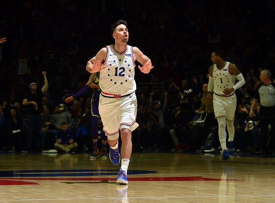 T.J. McConnell #12 of the Philadelphia 76ers reacts against the Los Angeles Lakers on February 10, 2019 at the Wells Fargo Center in Philadelphia.