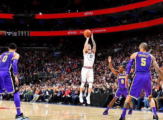 JJ Redick #17 of the Philadelphia 76ers shoots the ball against the Los Angeles Lakers on February 10, 2019 at the Wells Fargo Center in Philadelphia.