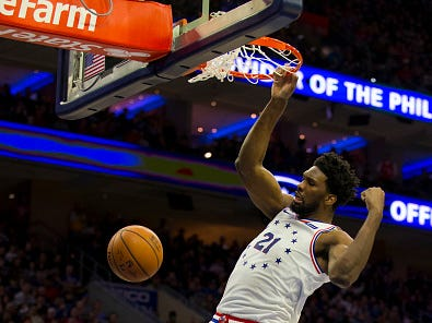 Joel Embiid #21 of the Philadelphia 76ers dunks the ball against the Los Angeles Lakers in the second quarter at the Wells Fargo Center on February 10, 2019 in Philadelphia.