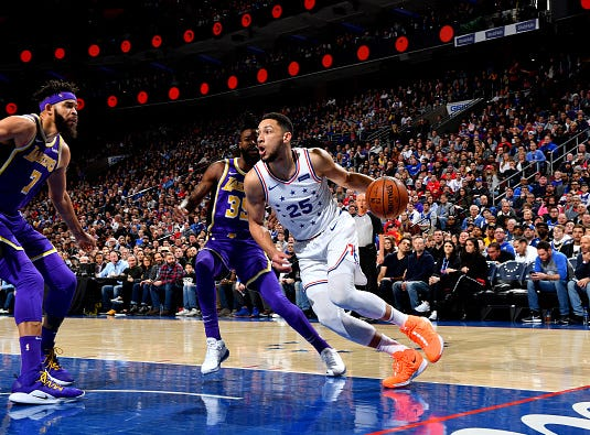 Ben Simmons #25 of the Philadelphia 76ers handles the ball against the Los Angeles Lakers on February 10, 2019 at the Wells Fargo Center in Philadelphia.