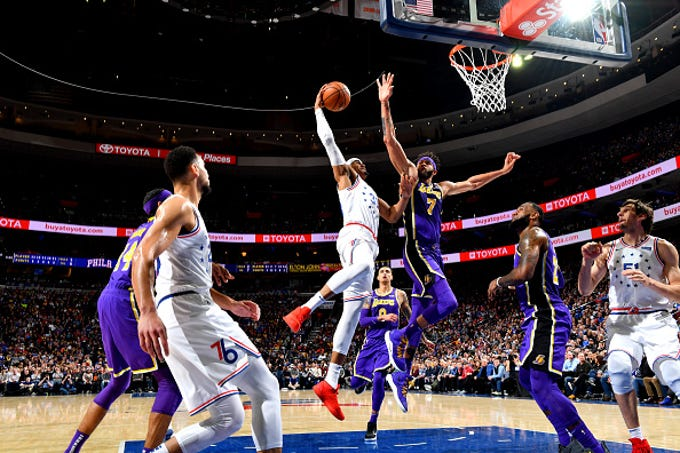 Tobias Harris #33 of the Philadelphia 76ers shoots the ball against the Los Angeles Lakers on February 10, 2019 at the Wells Fargo Center in Philadelphia, Pennsylvania.