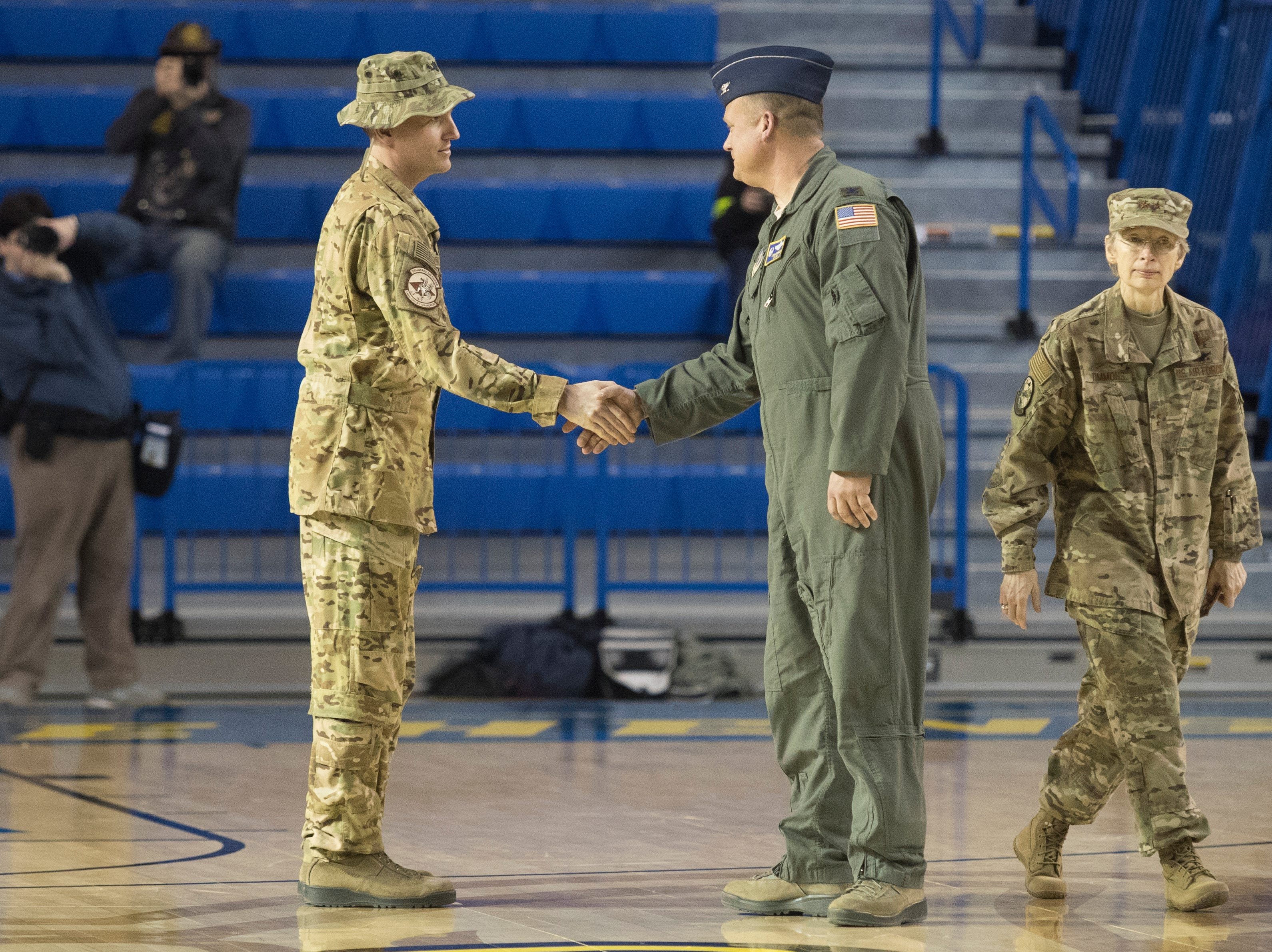 More than 200 members from the Delaware Air National Guard's 166th Airlift Wing were recognized during a homecoming ceremony Sunday afternoon at the Bob Carpenter Center.
