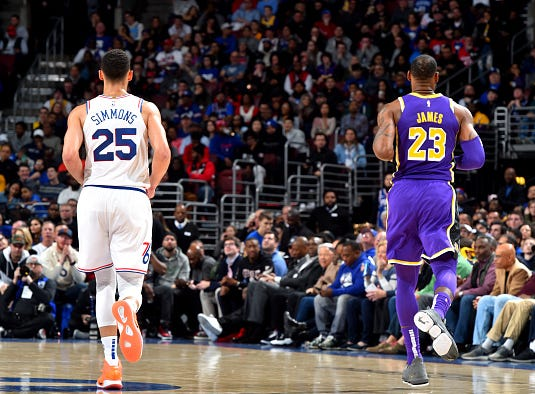 Ben Simmons #25 of the Philadelphia 76ers, and LeBron James #23 of the Los Angeles Lakers are seen together on February 10, 2019 at the Wells Fargo Center in Philadelphia, Pennsylvania.