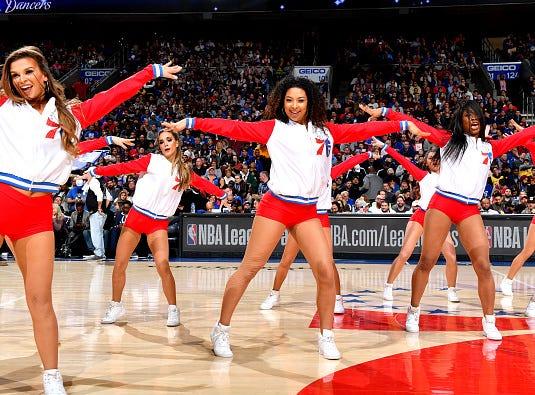 The Philadelphia 76ers cheerleaders peform during the game between the Philadelphia 76ers and the Los Angeles Lakers  on February 10, 2019 at the Wells Fargo Center in Philadelphia, Pennsylvania.