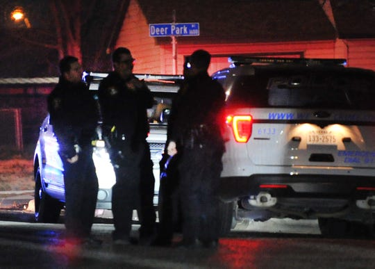 Wichita Falls police investigate a report of gunshots, Saturday night, on Ridgeway Drive.