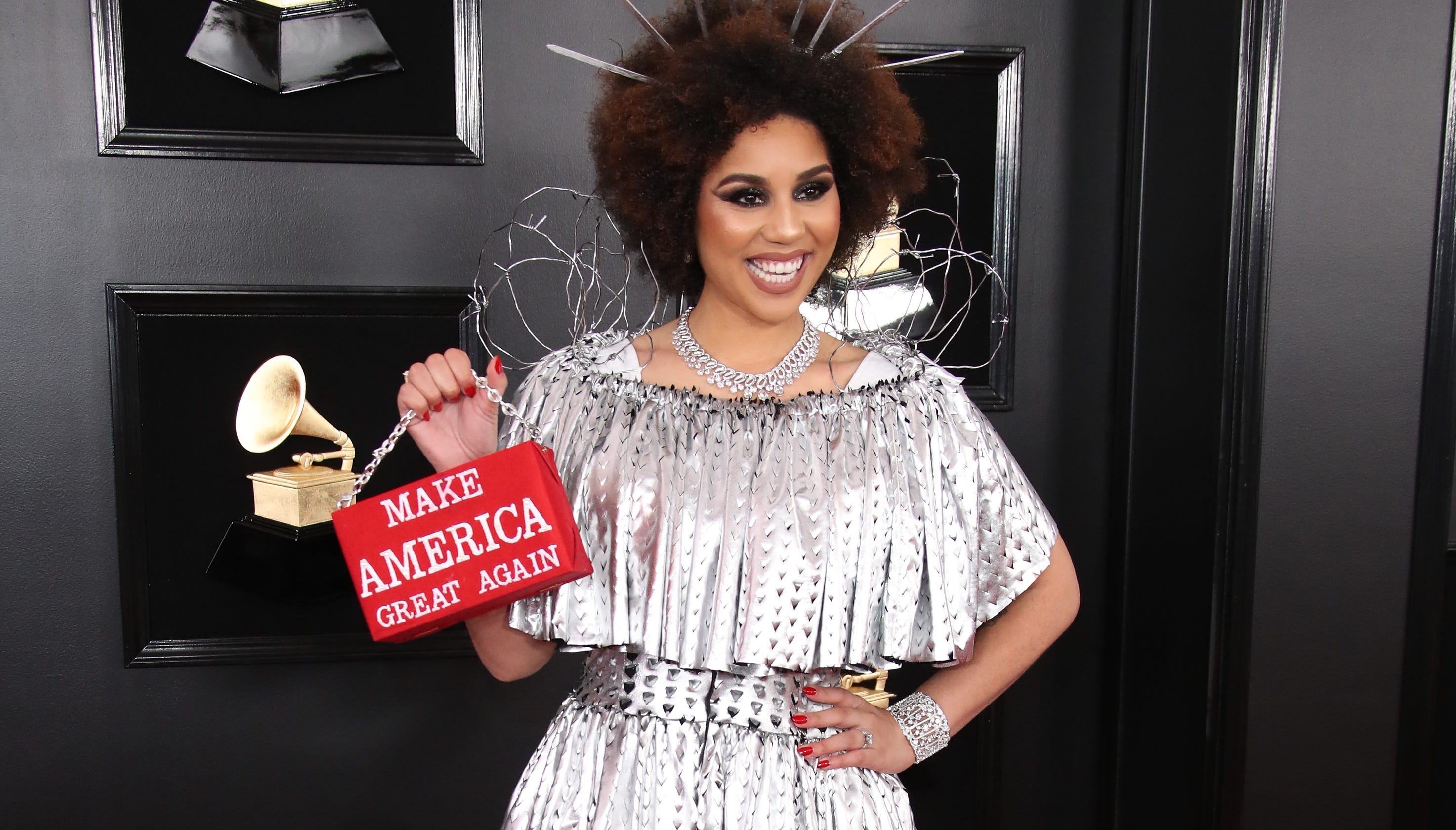 ff2cec6de007a Grammys 2019  Joy Villa met with backlash over  build the wall  dress