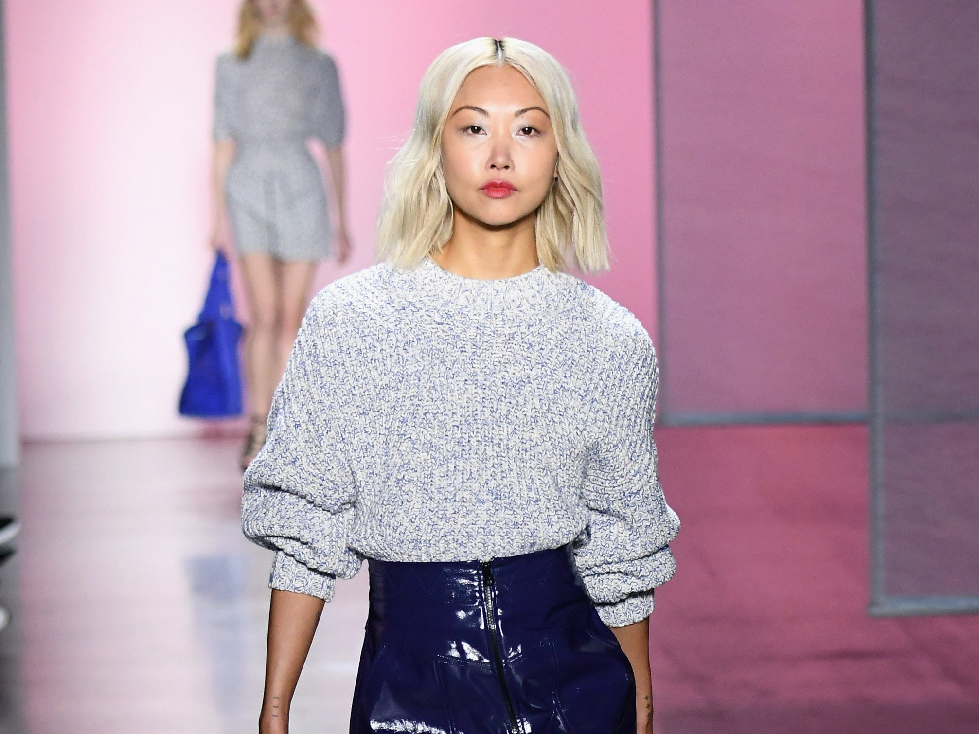 NEW YORK, NY - FEBRUARY 10:  A model walks the runway for the Rebecca Minkoff fashion show during New York Fashion Week: The Shows at Gallery I at Spring Studios on February 10, 2019 in New York City.  (Photo by Mike Coppola/Getty Images for NYFW: The Shows) ORG XMIT: 775290847 ORIG FILE ID: 1097085568