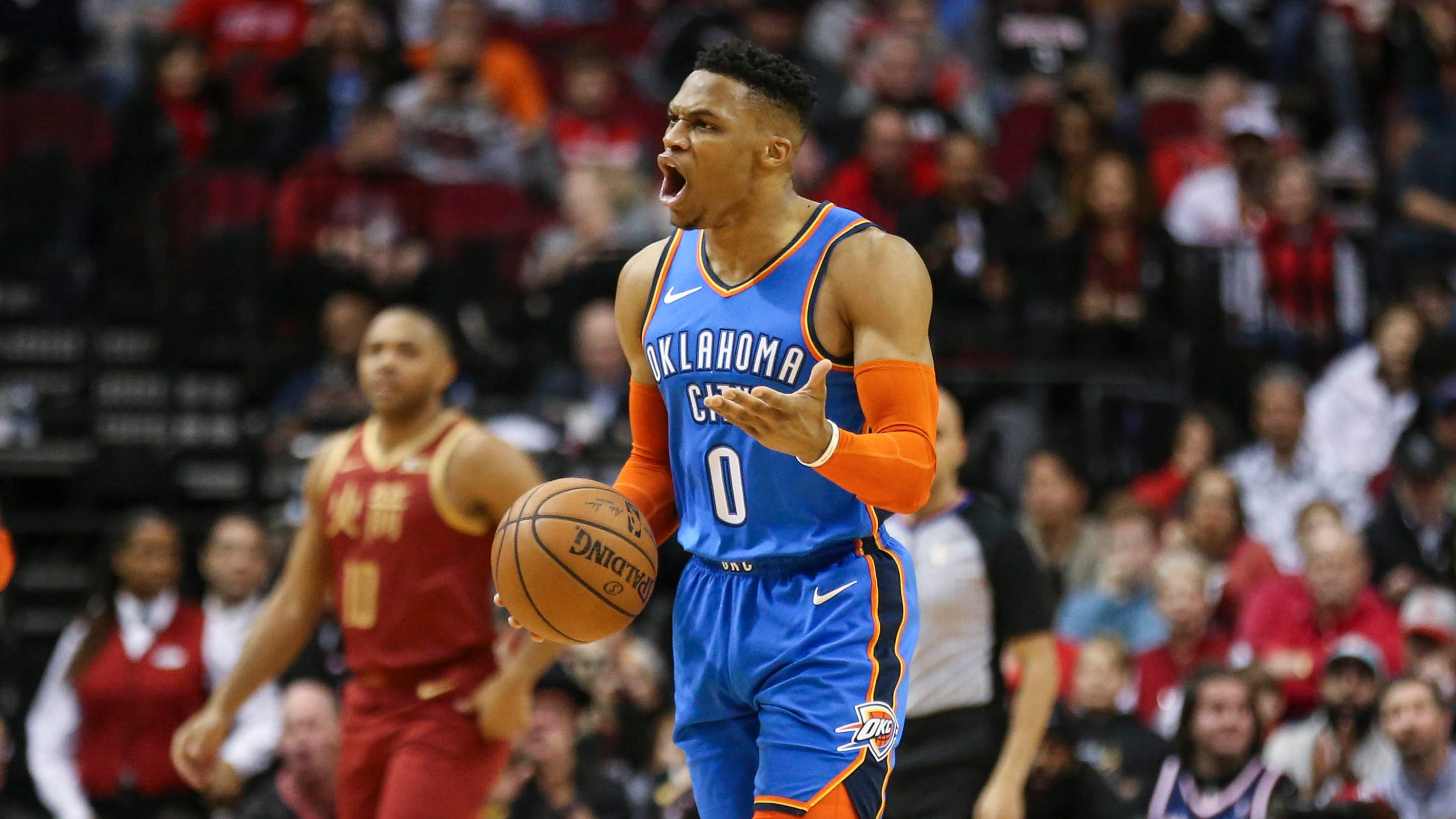 7c1e9cdeaa4 Russell Westbrook ties NBA record for consecutive triple-doubles  James  Harden scores 42