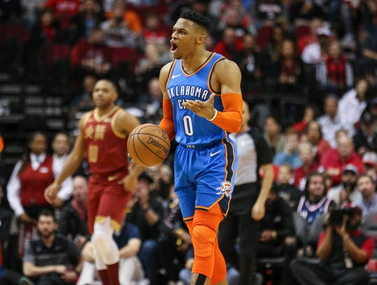 Oklahoma City Thunder guard Russell Westbrook reacts after a play during the first quarter against the Houston Rockets.
