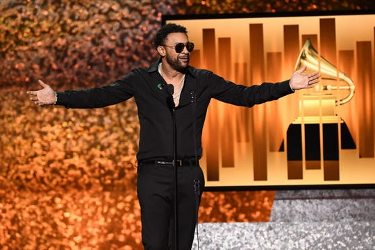 Shaggy delivers opening remarks at the Grammy Awards Premiere Ceremony at the Microsoft Theater in Los Angeles.