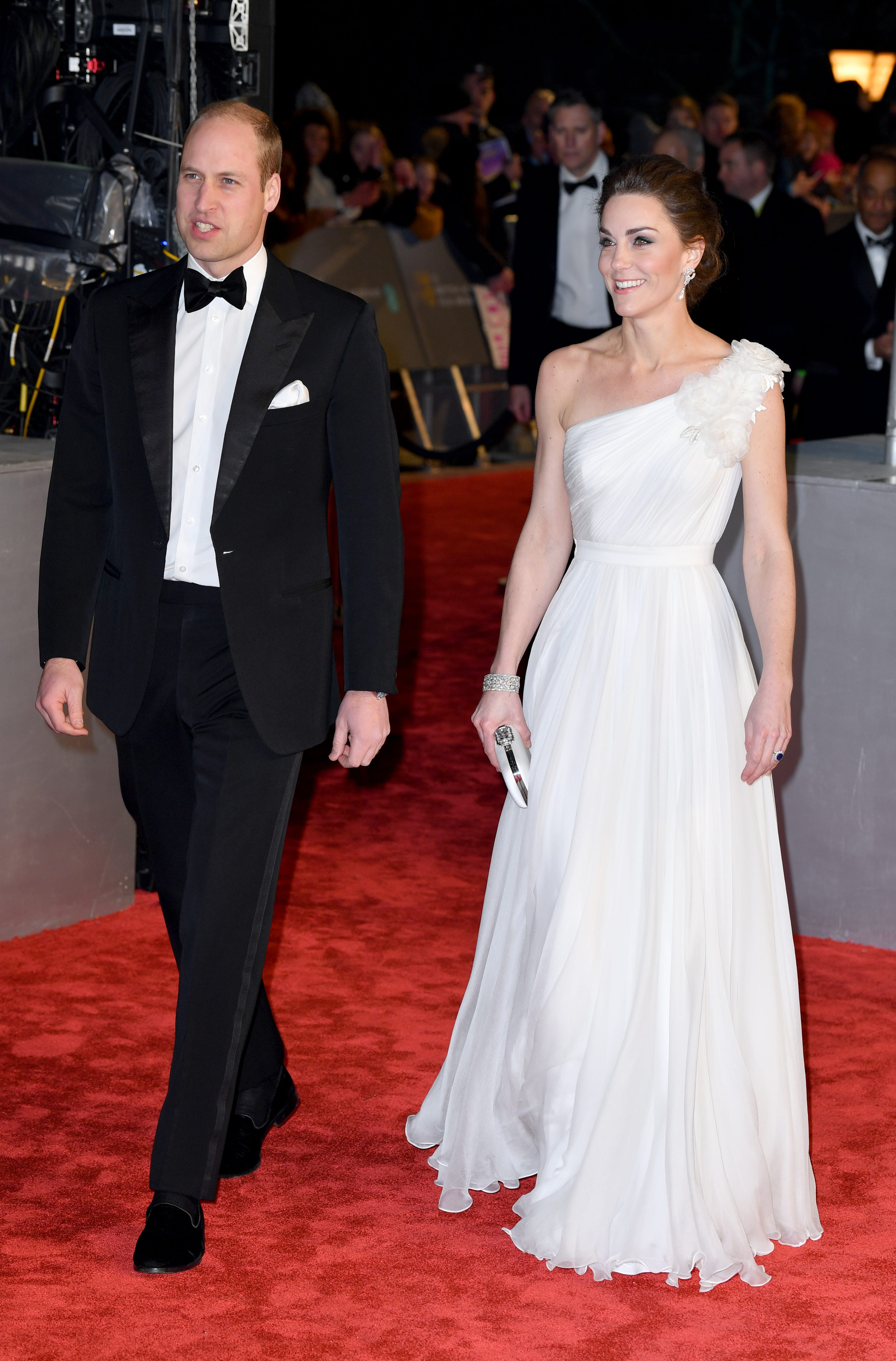 Duchess Kate dominated the BAFTA red carpet in a one-shouldered white gown.