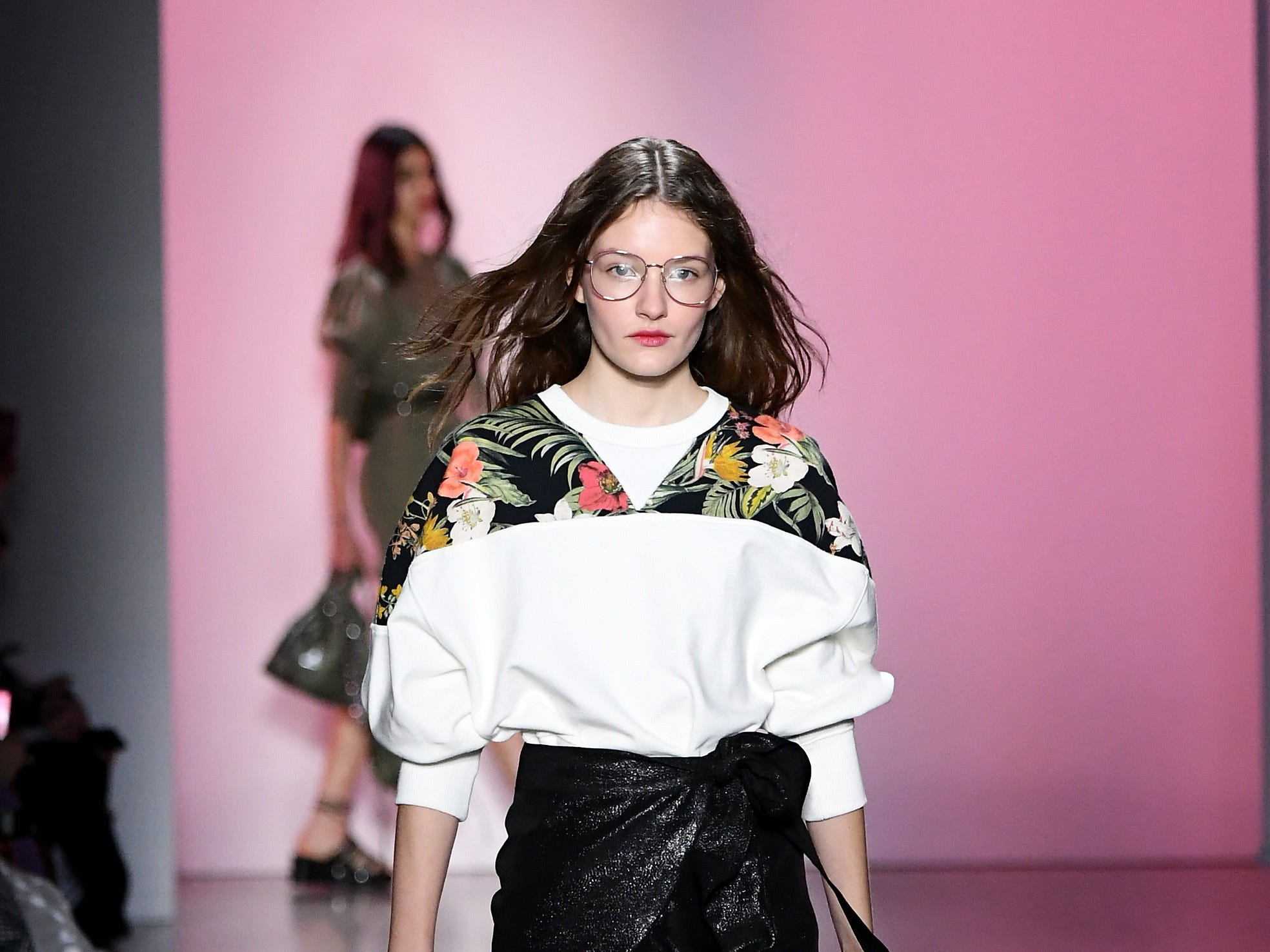 NEW YORK, NY - FEBRUARY 10:  A model walks the runway for the Rebecca Minkoff fashion show during New York Fashion Week: The Shows at Gallery I at Spring Studios on February 10, 2019 in New York City.  (Photo by Mike Coppola/Getty Images for NYFW: The Shows) ORG XMIT: 775290847 ORIG FILE ID: 1097085544