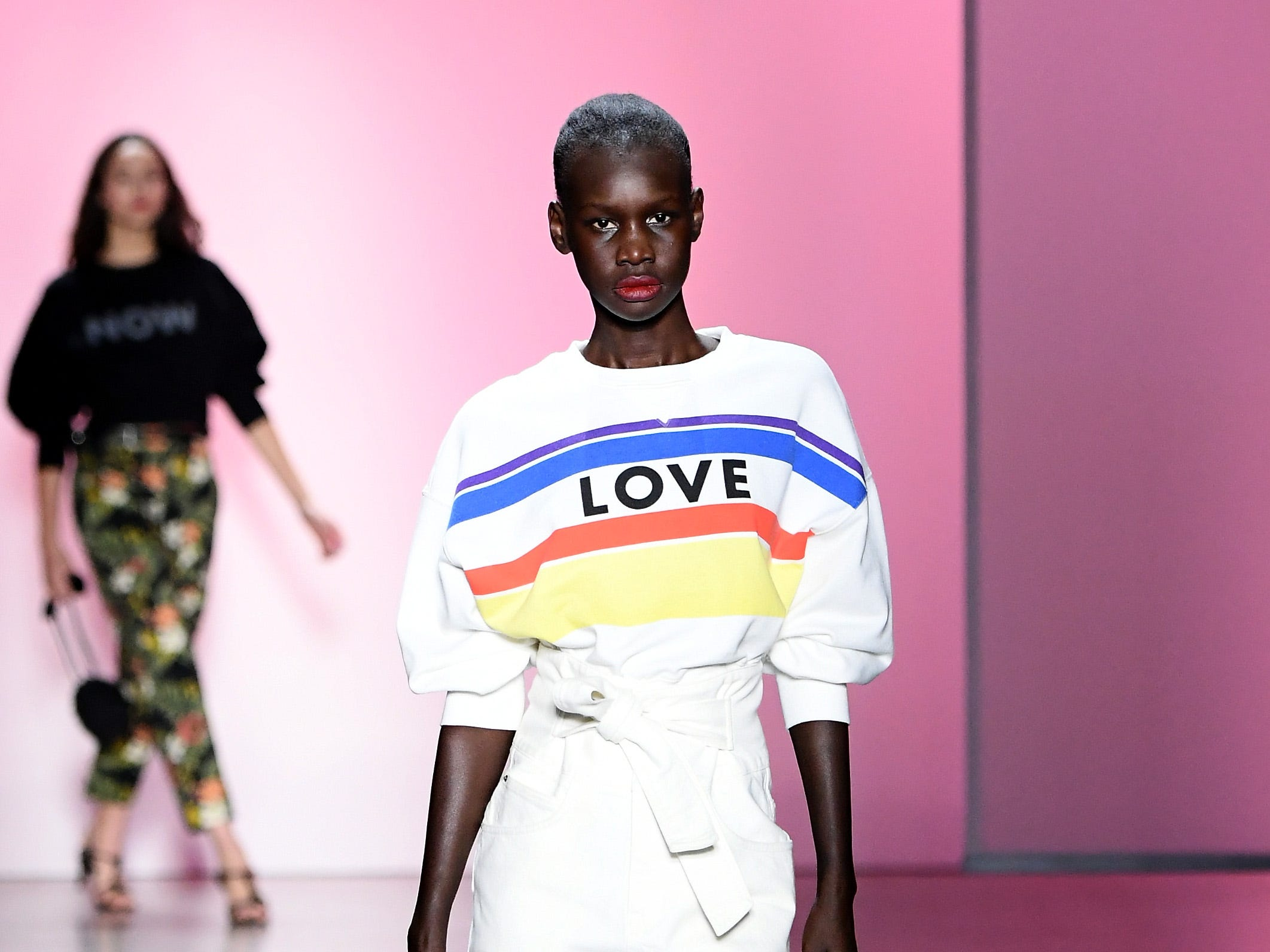 NEW YORK, NY - FEBRUARY 10:  A model walks the runway for the Rebecca Minkoff fashion show during New York Fashion Week: The Shows at Gallery I at Spring Studios on February 10, 2019 in New York City.  (Photo by Mike Coppola/Getty Images for NYFW: The Shows) ORG XMIT: 775290847 ORIG FILE ID: 1097085542